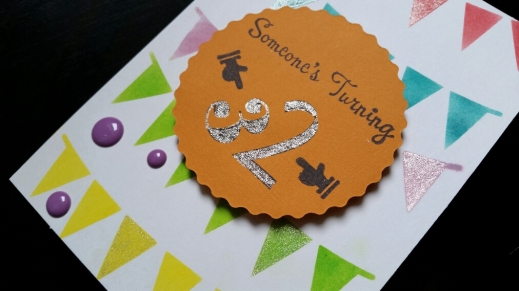 A Bit Of Glue & Paper - handmade birthday card with bright stenciled bunting, purple enamel dots, die cut circle, stamped sentiment, detail - Vancouver BC
