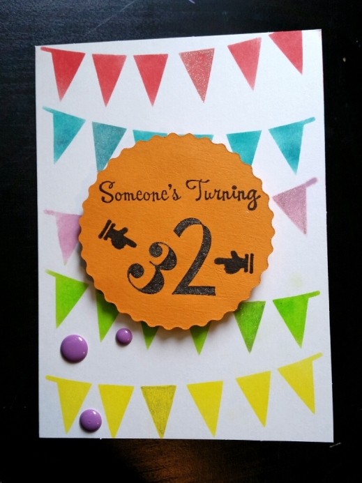 A Bit Of Glue & Paper - handmade birthday card with bright stenciled bunting, purple enamel dots, die cut circle, stamped sentiment - Vancouver BC