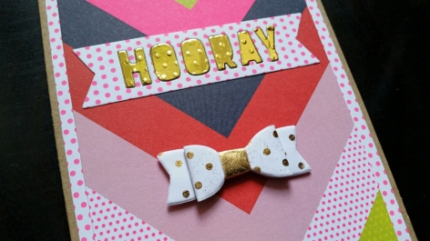 A Bit Of Glue & Paper - handmade birthday card with bright chevron paper, die cut gold HOORAY, white and gold bow, detail - Vancouver BC