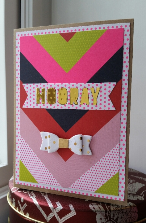 A Bit Of Glue & Paper - handmade birthday card with bright chevron paper, die cut gold HOORAY, white and gold bow - Vancouver BC