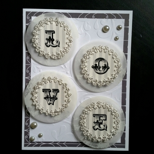 A Bit Of Glue & Paper - handmade wedding card, vellum, lace, pearls, embossed, white and black - Vancouver BC