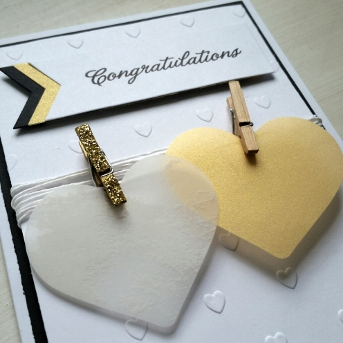 A Bit Of Glue & Paper - handmade wedding congratulations card, vellum hearts on twine, embossed hearts - Vancouver BC