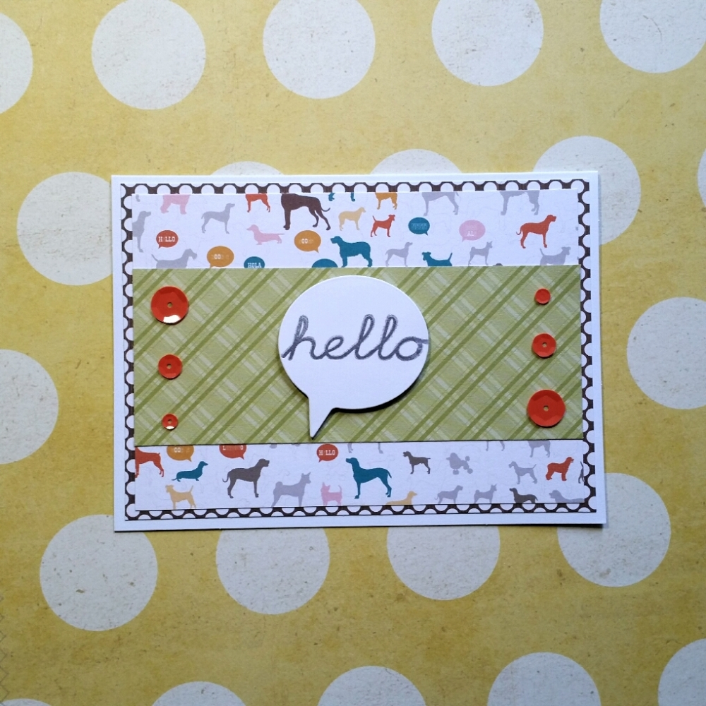 A Bit Of Glue & Paper - handmade greeting card, hello, dogs, sequins - Vancouver, BC