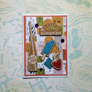 A Bit Of Glue & Paper - handmade greeting card, cork, summer, glitter, pop, soda, popsicle, sunshine - Vancouver, BC