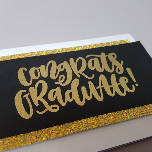 A Bit Of Glue & Paper - congrats graduation card, black and gold, heat embossed, My Favorite Things congrats stamp, Freshly Made Sketches 334, #FMS334 - Vancouver, BC